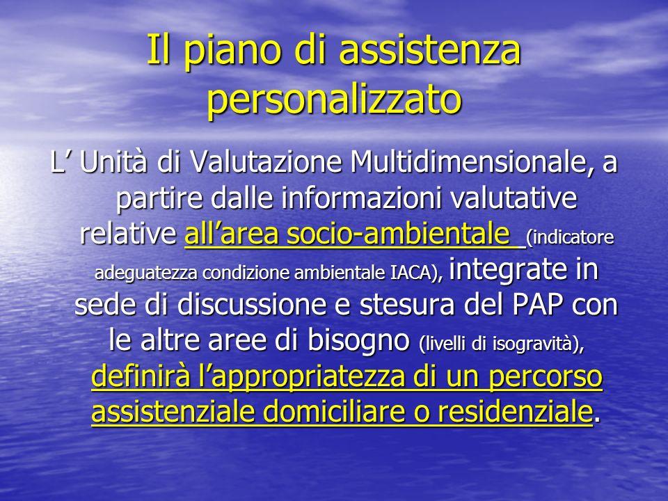 Il piano di assistenza personalizzato L Unità di Valutazione Multidimensionale, a partire dalle informazioni valutative relative allarea socio-ambient