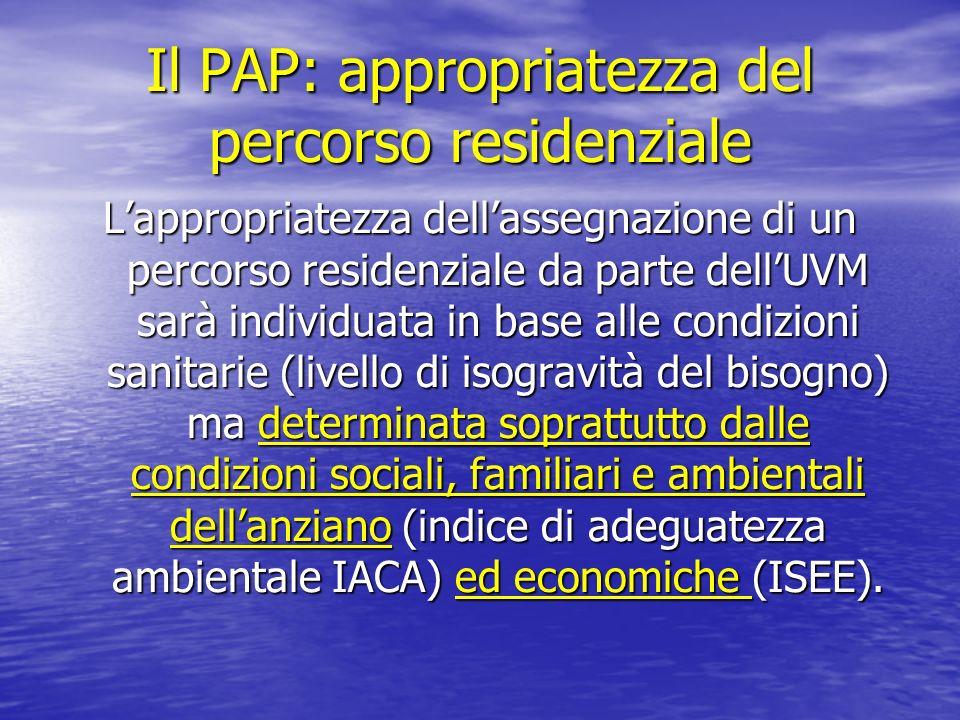 Il PAP: appropriatezza del percorso residenziale Lappropriatezza dellassegnazione di un percorso residenziale da parte dellUVM sarà individuata in bas