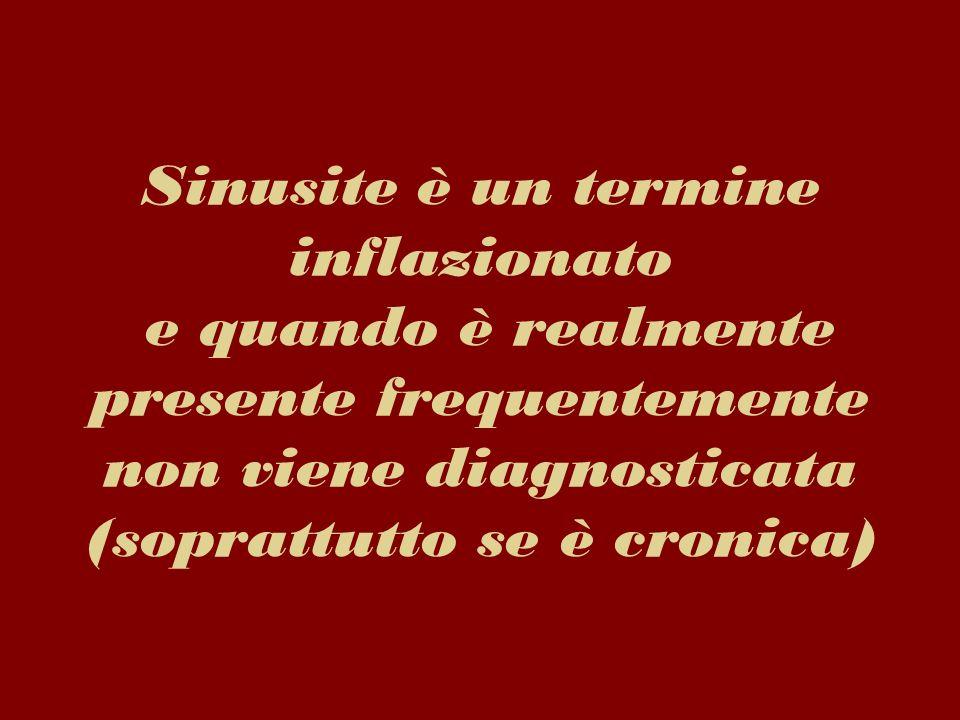 Sinusite è un termine inflazionato e quando è realmente presente frequentemente non viene diagnosticata (soprattutto se è cronica)