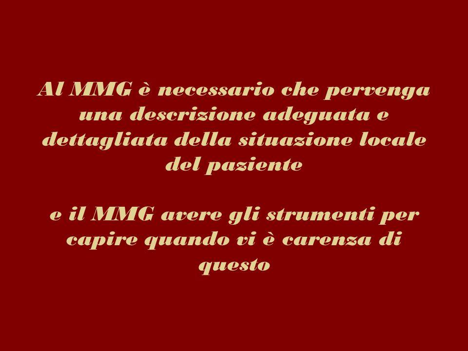 Al MMG è necessario che pervenga una descrizione adeguata e dettagliata della situazione locale del paziente e il MMG avere gli strumenti per capire q