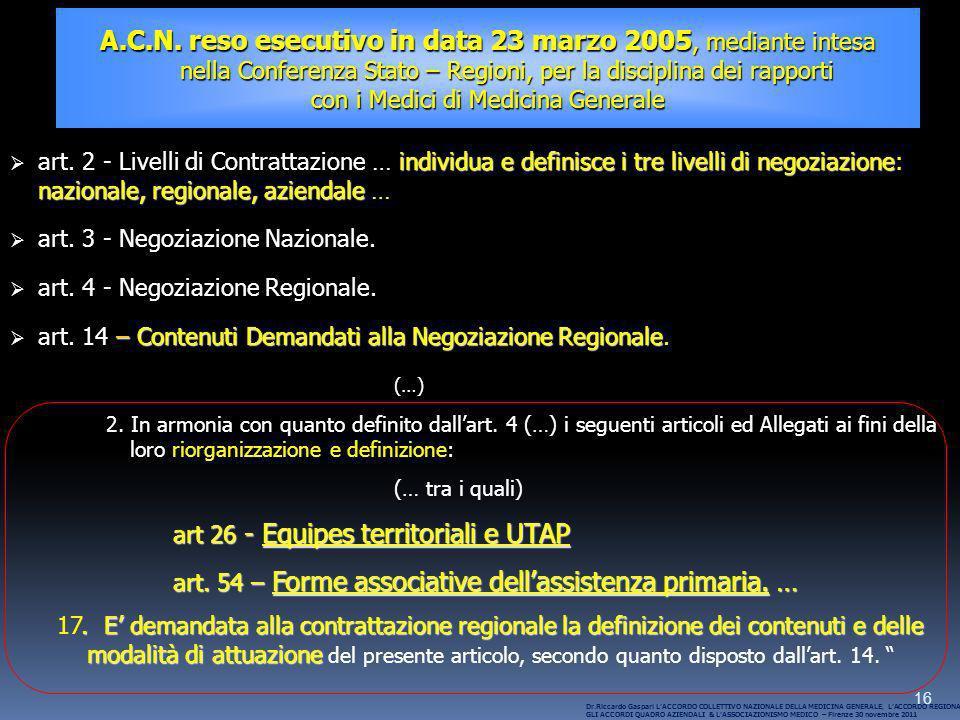 16 A.C.N. reso esecutivo in data 23 marzo 2005, mediante intesa nella Conferenza Stato – Regioni, per la disciplina dei rapporti nella Conferenza Stat
