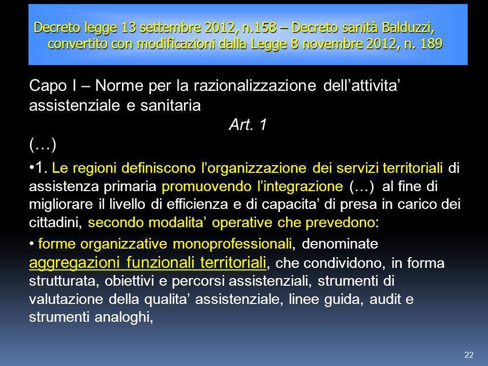22 Decreto legge 13 settembre 2012, n.158 – Decreto sanità Balduzzi, convertito con modificazioni dalla Legge 8 novembre 2012, n. 189 Capo I – Norme p