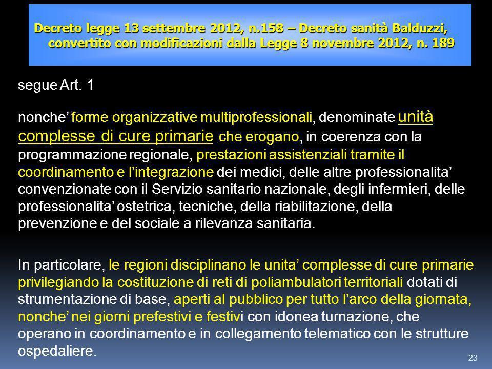 23 Decreto legge 13 settembre 2012, n.158 – Decreto sanità Balduzzi, convertito con modificazioni dalla Legge 8 novembre 2012, n. 189 segue Art. 1 non