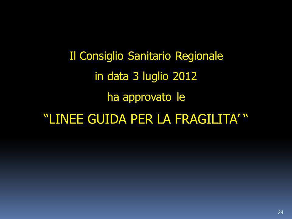 24 Il Consiglio Sanitario Regionale in data 3 luglio 2012 ha approvato le LINEE GUIDA PER LA FRAGILITA