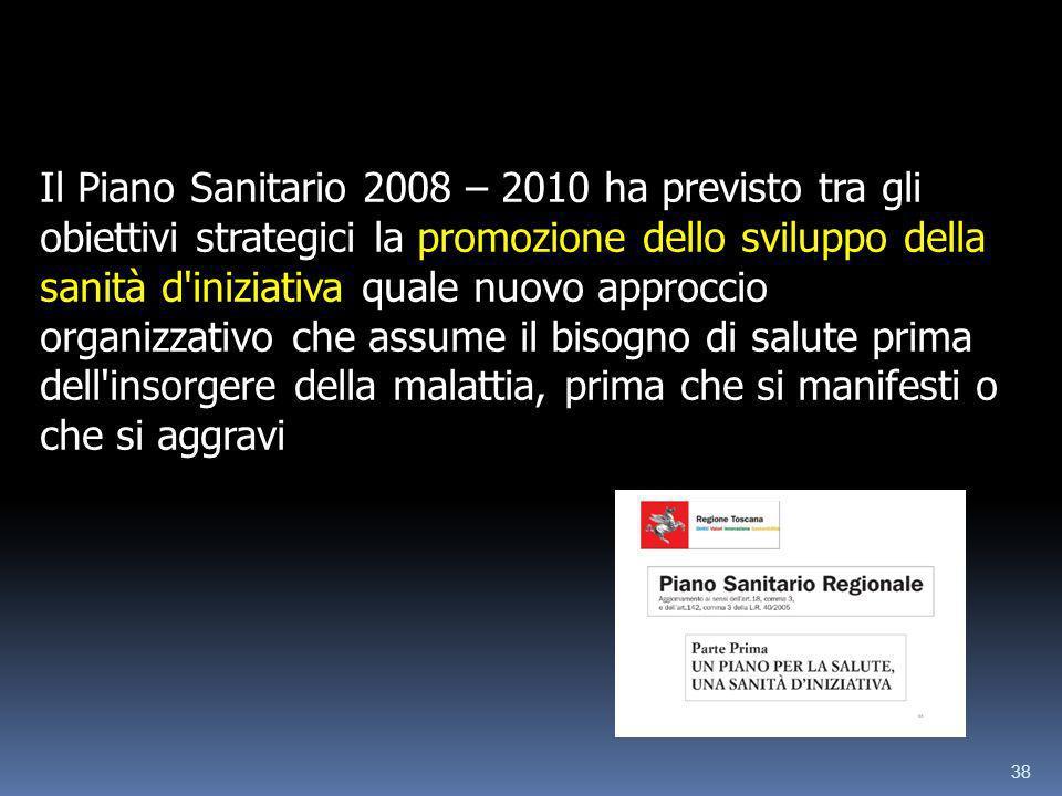 38 Il Piano Sanitario 2008 – 2010 ha previsto tra gli obiettivi strategici la promozione dello sviluppo della sanità d'iniziativa quale nuovo approcci