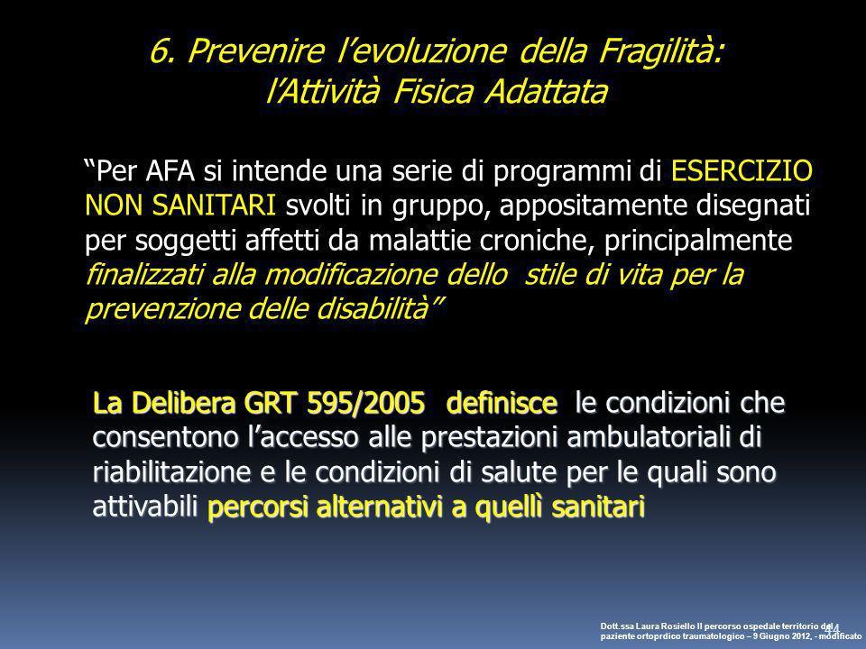 44 Per AFA si intende una serie di programmi di ESERCIZIO NON SANITARI svolti in gruppo, appositamente disegnati per soggetti affetti da malattie cron