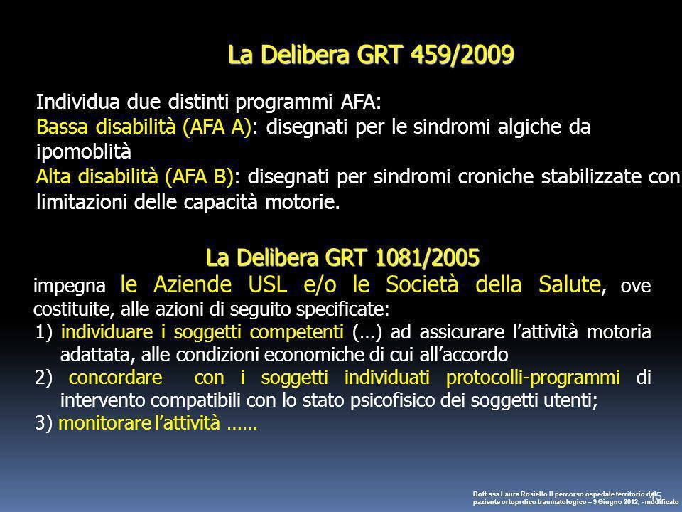 45 La Delibera GRT 459/2009 Individua due distinti programmi AFA: Bassa disabilità (AFA A): disegnati per le sindromi algiche da ipomoblità Alta disab