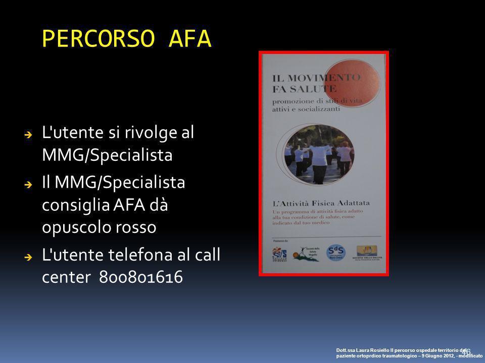 46 PERCORSO AFA L'utente si rivolge al MMG/Specialista Il MMG/Specialista consiglia AFA dà opuscolo rosso L'utente telefona al call center 800801616 D