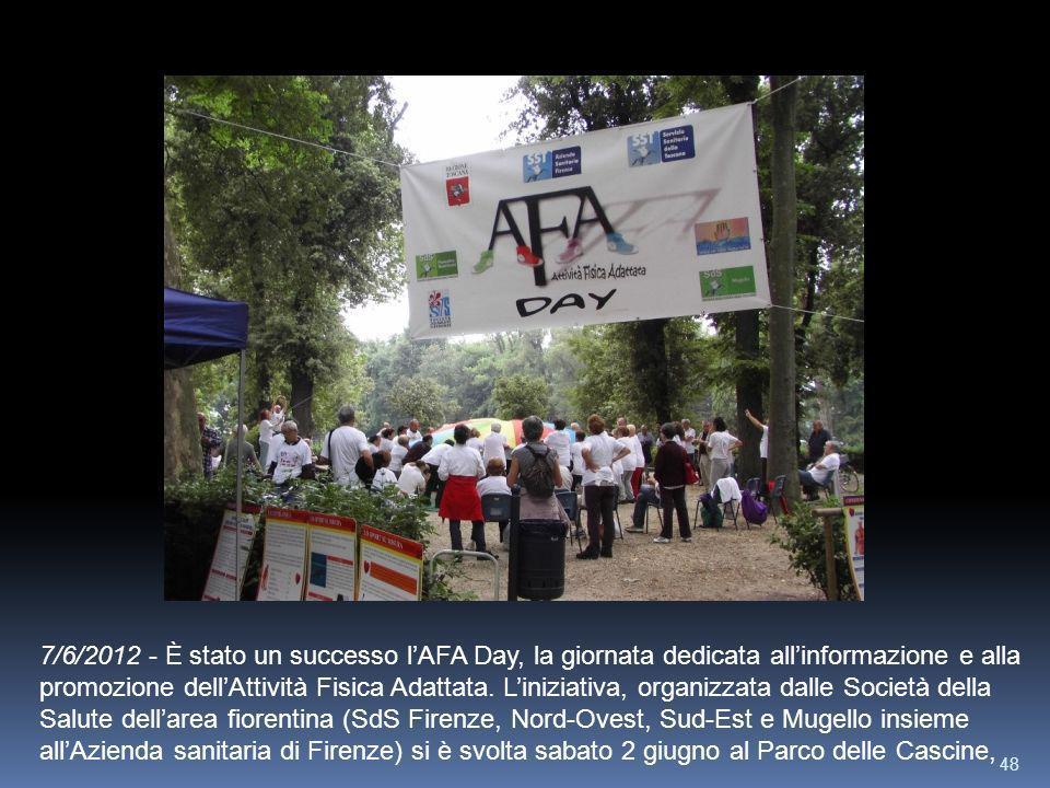 48 7/6/2012 - È stato un successo lAFA Day, la giornata dedicata allinformazione e alla promozione dellAttività Fisica Adattata. Liniziativa, organizz