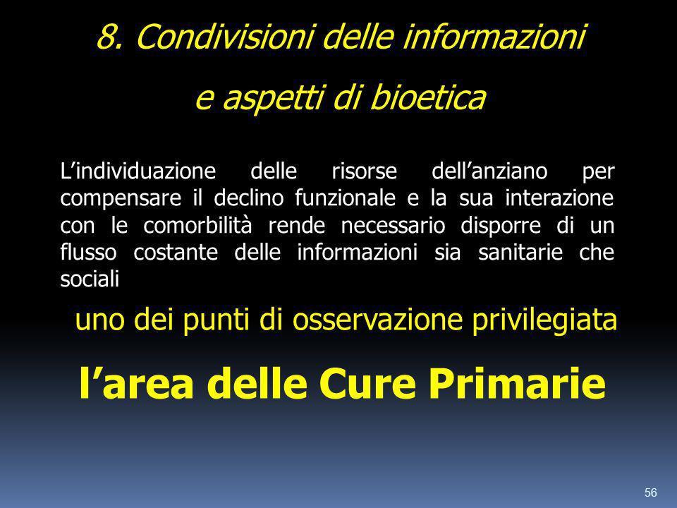 56 8. Condivisioni delle informazioni e aspetti di bioetica Lindividuazione delle risorse dellanziano per compensare il declino funzionale e la sua in