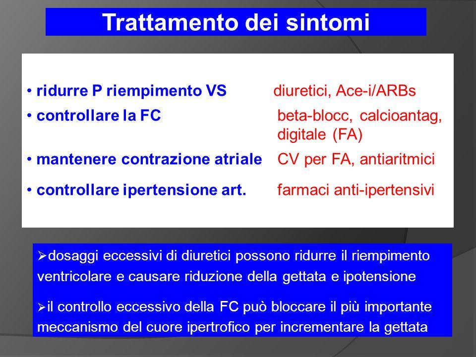 ridurre P riempimento VS diuretici, Ace-i/ARBs controllare la FC beta-blocc, calcioantag, digitale (FA) mantenere contrazione atriale CV per FA, antiaritmici controllare ipertensione art.