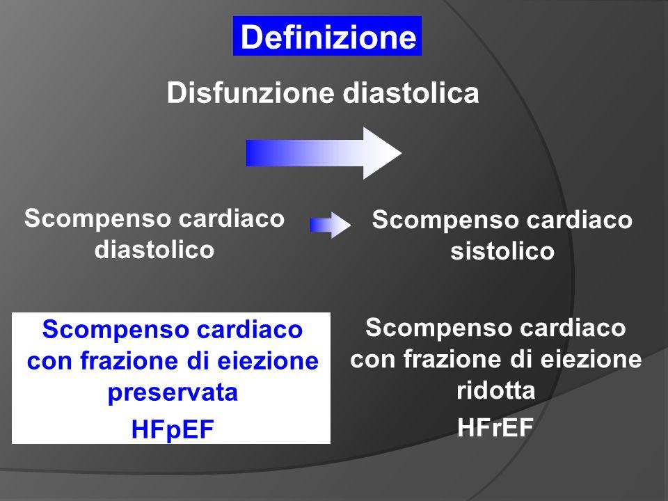 Scompenso cardiaco diastolico Scompenso cardiaco con frazione di eiezione preservata HFpEF Scompenso cardiaco con frazione di eiezione ridotta HFrEF Scompenso cardiaco sistolico Disfunzione diastolica Definizione