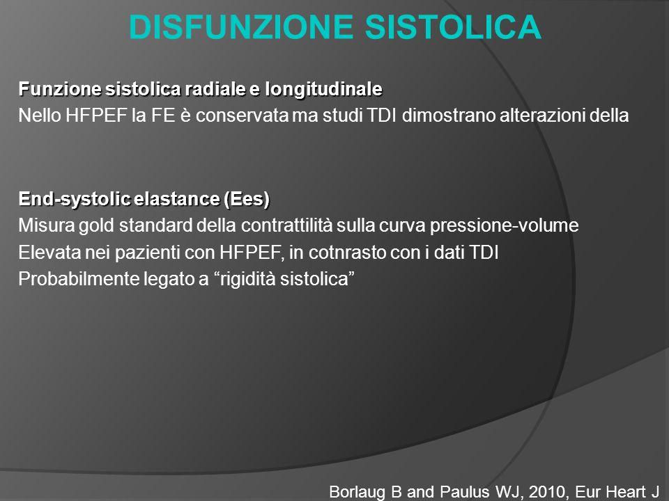 DISFUNZIONE SISTOLICA Borlaug B and Paulus WJ, 2010, Eur Heart J Funzione sistolica radiale e longitudinale Nello HFPEF la FE è conservata ma studi TDI dimostrano alterazioni della End-systolic elastance (Ees) Misura gold standard della contrattilità sulla curva pressione-volume Elevata nei pazienti con HFPEF, in cotnrasto con i dati TDI Probabilmente legato a rigidità sistolica