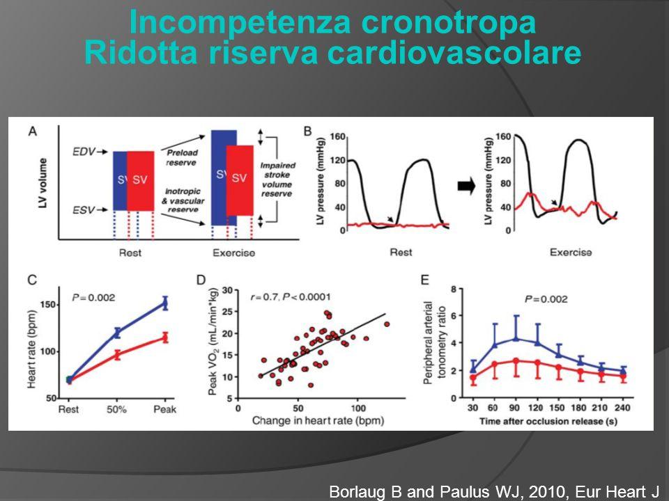 Incompetenza cronotropa Ridotta riserva cardiovascolare Borlaug B and Paulus WJ, 2010, Eur Heart J