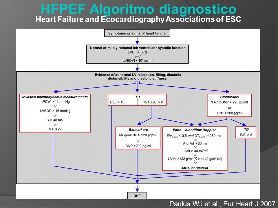 HFPEF Algoritmo diagnostico Heart Failure and Ecocardiography Associations of ESC Paulus WJ et al., Eur Heart J 2007
