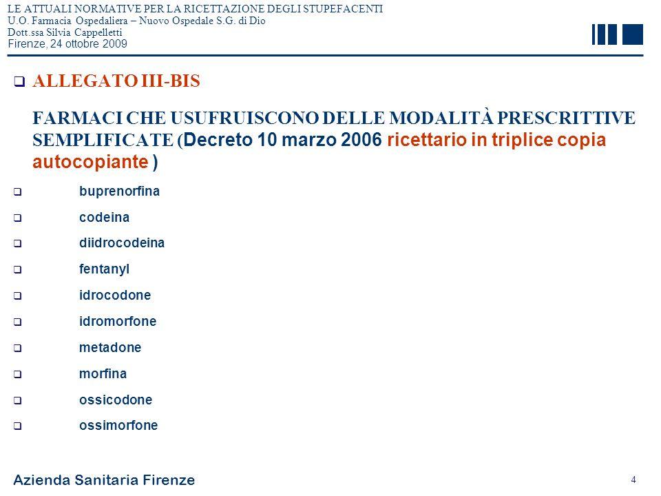 Azienda Sanitaria Firenze 4 LE ATTUALI NORMATIVE PER LA RICETTAZIONE DEGLI STUPEFACENTI U.O. Farmacia Ospedaliera – Nuovo Ospedale S.G. di Dio Dott.ss