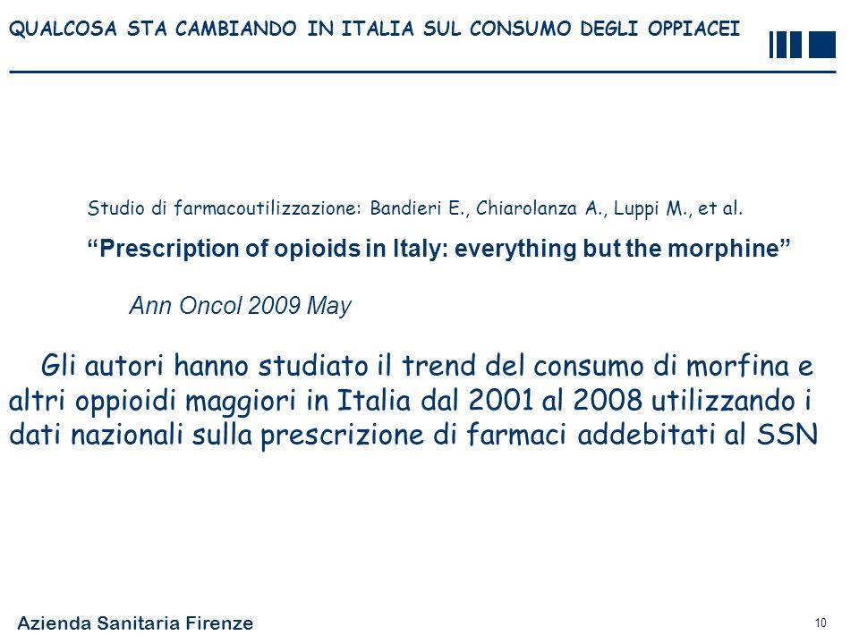 Azienda Sanitaria Firenze 10 QUALCOSA STA CAMBIANDO IN ITALIA SUL CONSUMO DEGLI OPPIACEI Studio di farmacoutilizzazione: Bandieri E., Chiarolanza A.,