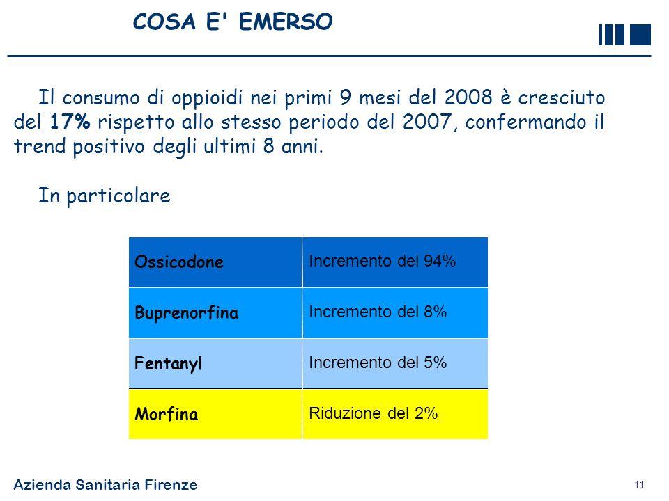 Azienda Sanitaria Firenze 11 COSA E' EMERSO Il consumo di oppioidi nei primi 9 mesi del 2008 è cresciuto del 17% rispetto allo stesso periodo del 2007