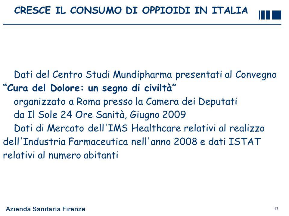 Azienda Sanitaria Firenze 13 CRESCE IL CONSUMO DI OPPIOIDI IN ITALIA Dati del Centro Studi Mundipharma presentati al Convegno Cura del Dolore: un segn