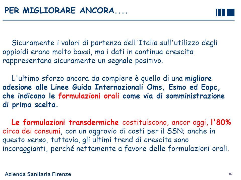 Azienda Sanitaria Firenze 16 PER MIGLIORARE ANCORA.... Sicuramente i valori di partenza dell'Italia sull'utilizzo degli oppioidi erano molto bassi, ma