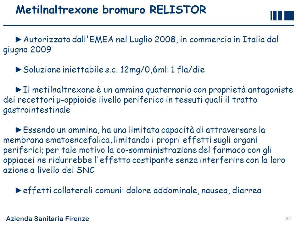 Azienda Sanitaria Firenze 22 Metilnaltrexone bromuro RELISTOR Autorizzato dall'EMEA nel Luglio 2008, in commercio in Italia dal giugno 2009 Soluzione