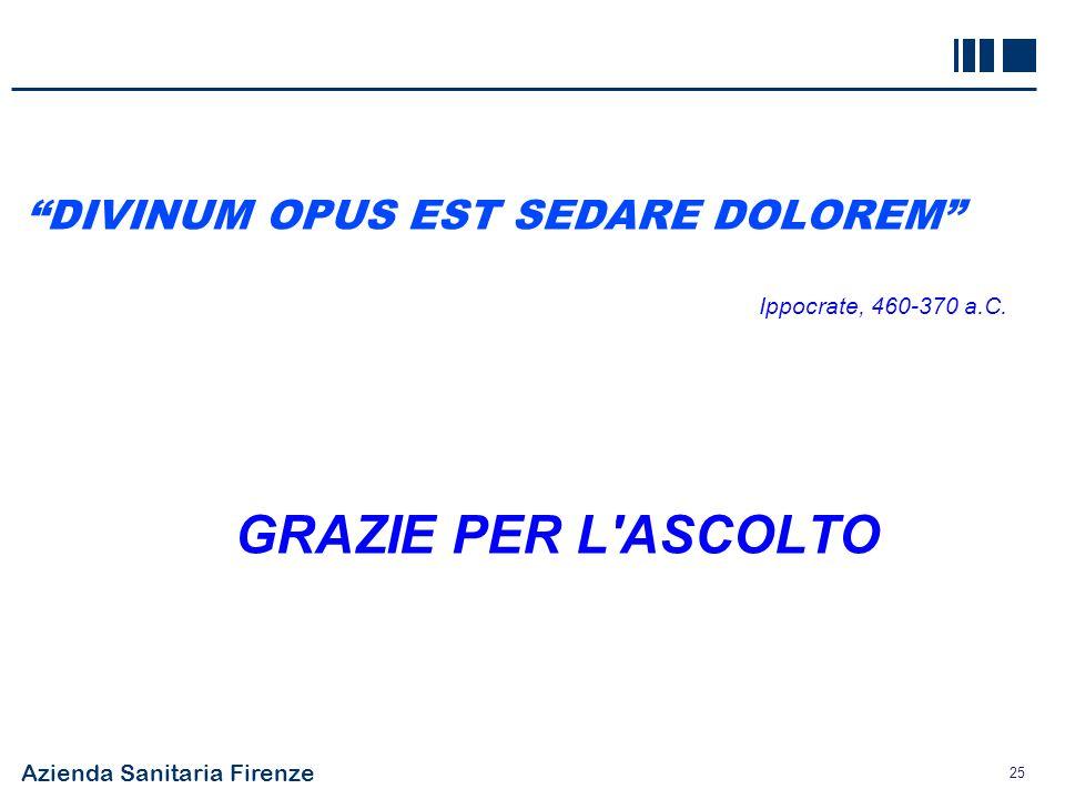 Azienda Sanitaria Firenze 25 DIVINUM OPUS EST SEDARE DOLOREM Ippocrate, 460-370 a.C. GRAZIE PER L'ASCOLTO