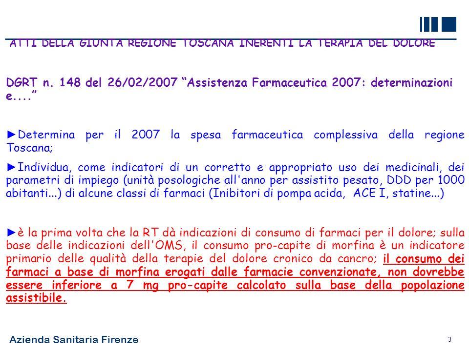 Azienda Sanitaria Firenze 3 ATTI DELLA GIUNTA REGIONE TOSCANA INERENTI LA TERAPIA DEL DOLORE DGRT n. 148 del 26/02/2007 Assistenza Farmaceutica 2007: