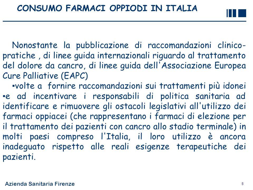 Azienda Sanitaria Firenze 8 CONSUMO FARMACI OPPIODI IN ITALIA Nonostante la pubblicazione di raccomandazioni clinico- pratiche, di linee guida interna