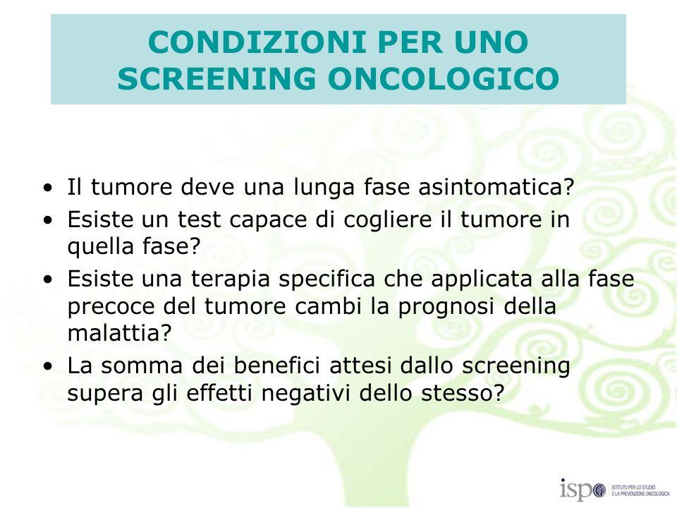 CONDIZIONI PER UNO SCREENING ONCOLOGICO Il tumore deve una lunga fase asintomatica.