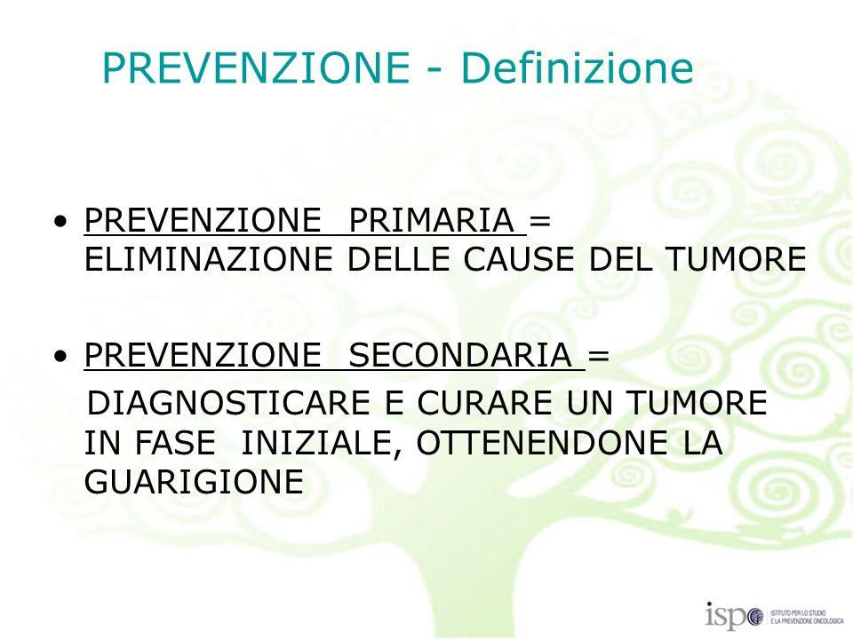 PREVENZIONE PRIMARIA = ELIMINAZIONE DELLE CAUSE DEL TUMORE PREVENZIONE SECONDARIA = DIAGNOSTICARE E CURARE UN TUMORE IN FASE INIZIALE, OTTENENDONE LA GUARIGIONE PREVENZIONE - Definizione