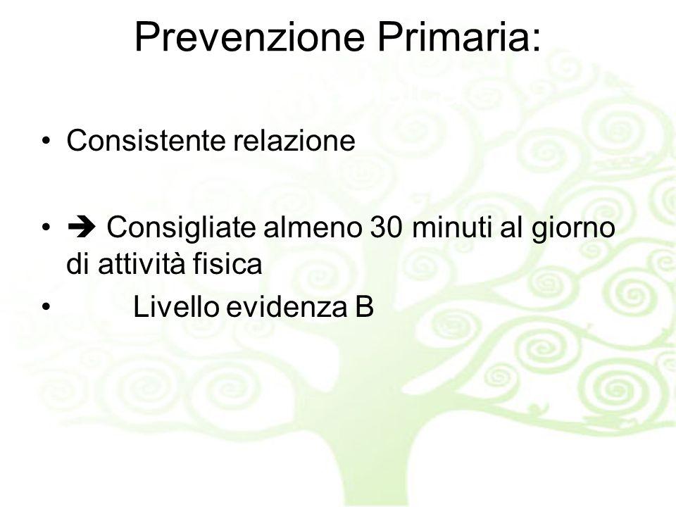 Prevenzione Primaria: Attività fisica Consistente relazione Consigliate almeno 30 minuti al giorno di attività fisica Livello evidenza B