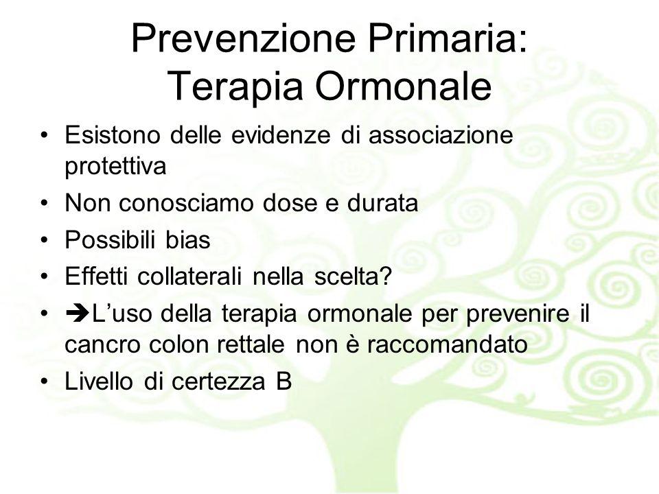 Prevenzione Primaria: Terapia Ormonale Esistono delle evidenze di associazione protettiva Non conosciamo dose e durata Possibili bias Effetti collaterali nella scelta.