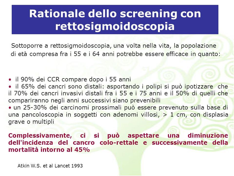 Rationale dello screening con rettosigmoidoscopia Sottoporre a rettosigmoidoscopia, una volta nella vita, la popolazione di età compresa fra i 55 e i 64 anni potrebbe essere efficace in quanto: il 90% dei CCR compare dopo i 55 anni il 65% dei cancri sono distali: asportando i polipi si può ipotizzare che il 70% dei cancri invasivi distali fra i 55 e i 75 anni e il 50% di quelli che compariranno negli anni successivi siano prevenibili un 25-30% dei carcinomi prossimali può essere prevenuto sulla base di una pancoloscopia in soggetti con adenomi villosi, > 1 cm, con displasia grave o multipli Complessivamente, ci si può aspettare una diminuzione dell incidenza del cancro colo-rettale e successivamente della mortalità intorno al 45% Atkin W.S.