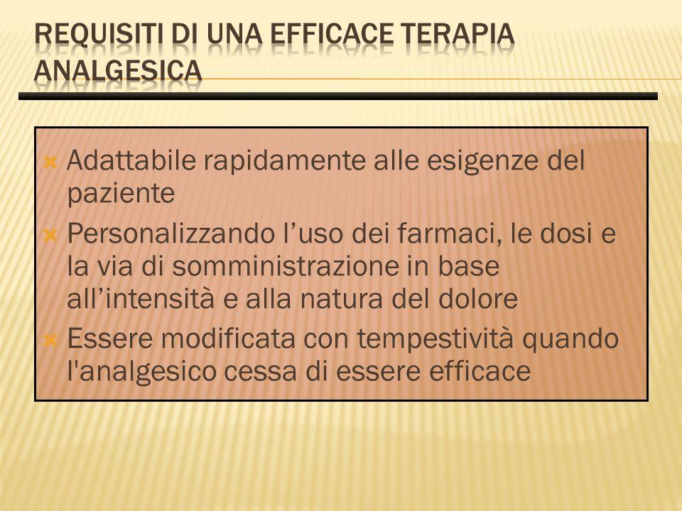 Adattabile rapidamente alle esigenze del paziente Personalizzando luso dei farmaci, le dosi e la via di somministrazione in base allintensità e alla n