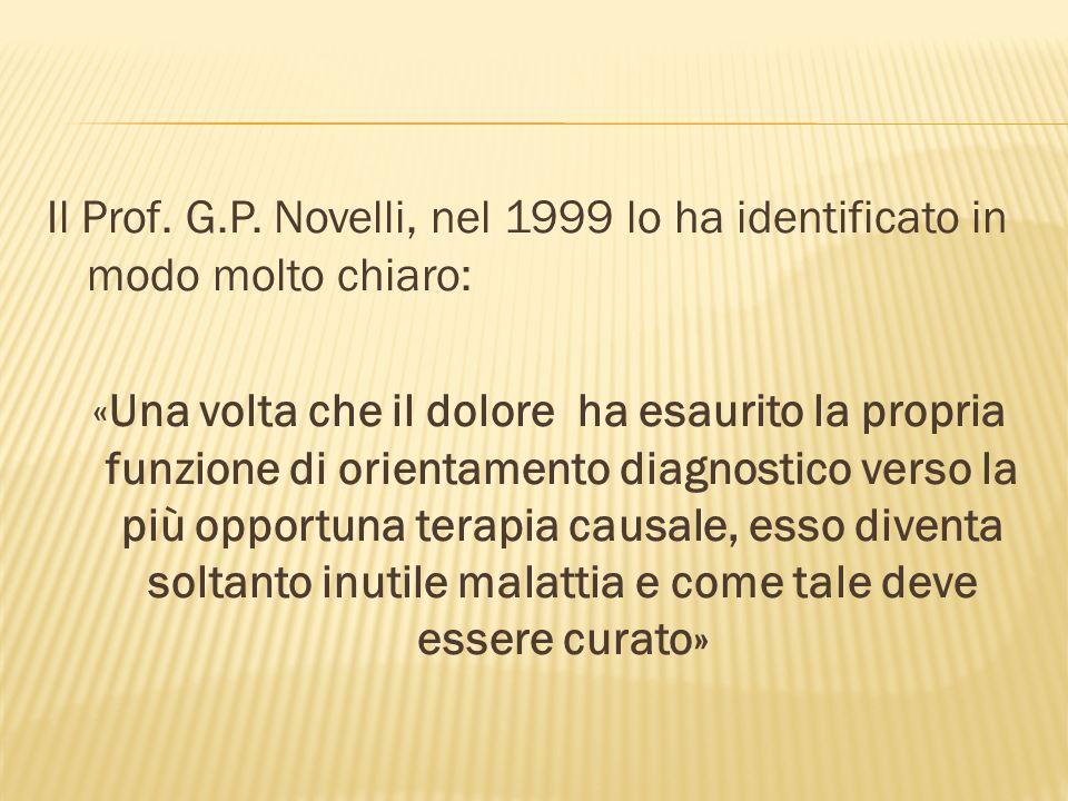 Il Prof. G.P. Novelli, nel 1999 lo ha identificato in modo molto chiaro: «Una volta che il dolore ha esaurito la propria funzione di orientamento diag