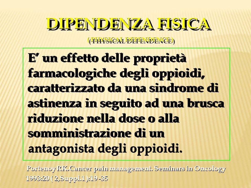 DIPENDENZA FISICA ( PHYSICAL DEPENDENCE ) DIPENDENZA FISICA ( PHYSICAL DEPENDENCE ) E un effetto delle proprietà farmacologiche degli oppioidi, caratt