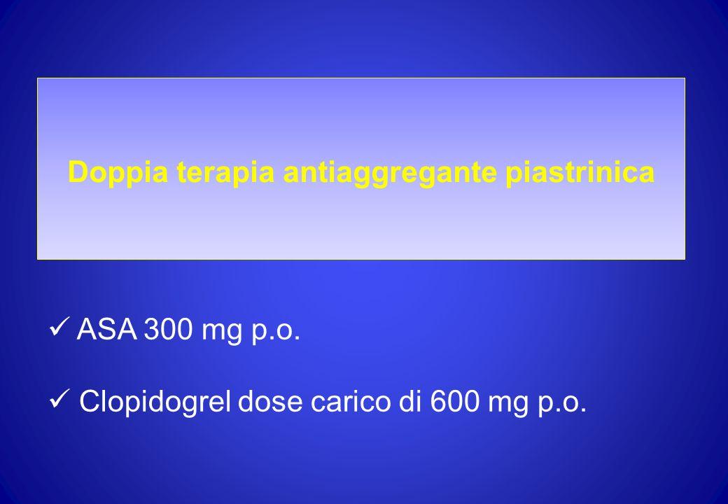 Doppia terapia antiaggregante piastrinica ASA 300 mg p.o. Clopidogrel dose carico di 600 mg p.o.