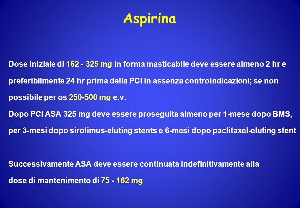 Aspirina 162 - 325 mg Dose iniziale di 162 - 325 mg in forma masticabile deve essere almeno 2 hr e preferibilmente 24 hr prima della PCI in assenza co