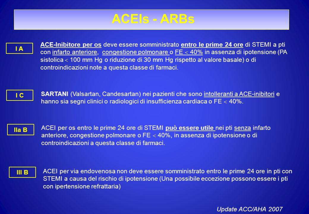 ACEIs - ARBs ACE-Inibitore per os deve essere somministrato entro le prime 24 ore di STEMI a pti con infarto anteriore, congestione polmonare o FE 40%