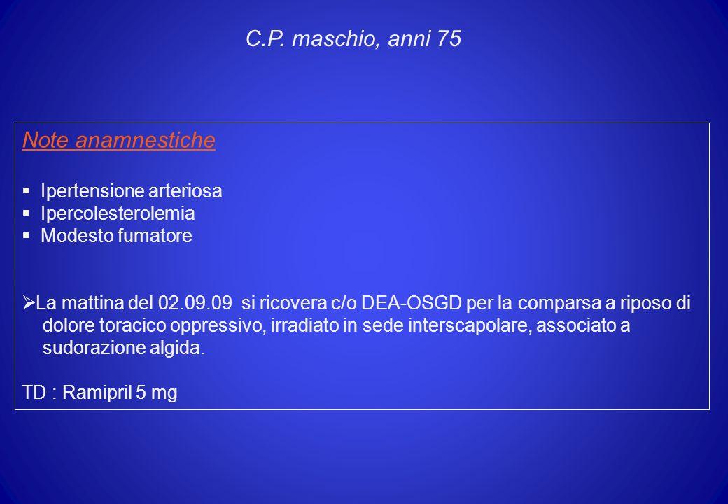 Note anamnestiche Ipertensione arteriosa Ipercolesterolemia Modesto fumatore La mattina del 02.09.09 si ricovera c/o DEA-OSGD per la comparsa a riposo