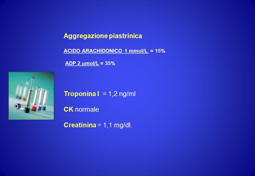 Aggregazione piastrinica ACIDO ARACHIDONICO 1 mmol/L = 15% ADP 2 mol/L = 35% Troponina I Troponina I = 1,2 ng/ml CK CK normale Creatinina Creatinina =