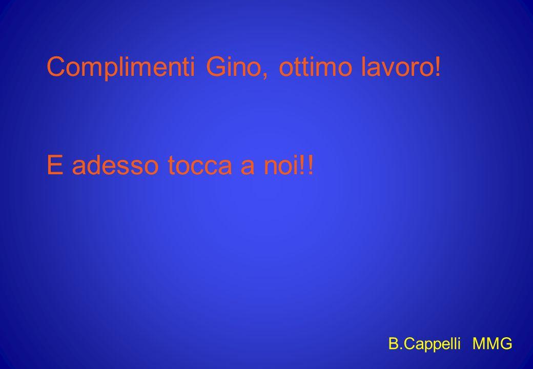 Complimenti Gino, ottimo lavoro! E adesso tocca a noi!! B.Cappelli MMG