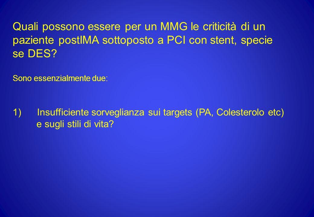 Quali possono essere per un MMG le criticità di un paziente postIMA sottoposto a PCI con stent, specie se DES? Sono essenzialmente due: 1) Insufficien
