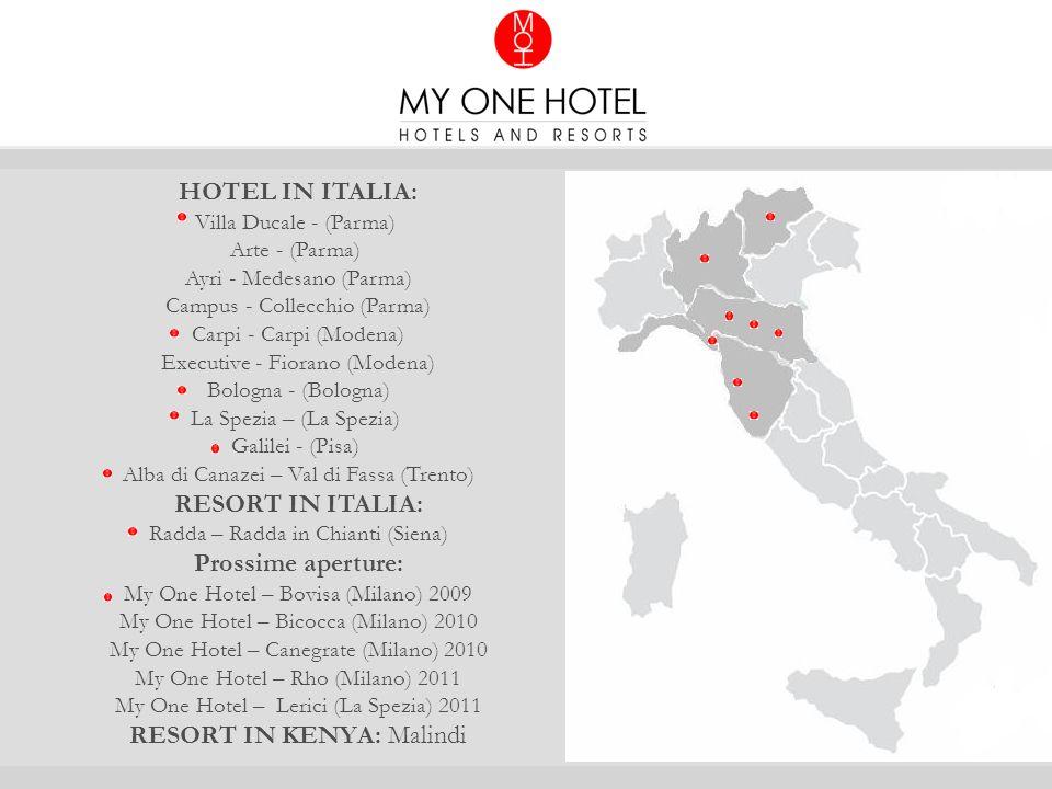 HOTEL IN ITALIA: Villa Ducale - (Parma) Arte - (Parma) Ayri - Medesano (Parma) Campus - Collecchio (Parma) Carpi - Carpi (Modena) Executive - Fiorano (Modena) Bologna - (Bologna) La Spezia – (La Spezia) Galilei - (Pisa) Alba di Canazei – Val di Fassa (Trento) RESORT IN ITALIA: Radda – Radda in Chianti (Siena) Prossime aperture: My One Hotel – Bovisa (Milano) 2009 My One Hotel – Bicocca (Milano) 2010 My One Hotel – Canegrate (Milano) 2010 My One Hotel – Rho (Milano) 2011 My One Hotel – Lerici (La Spezia) 2011 RESORT IN KENYA: Malindi