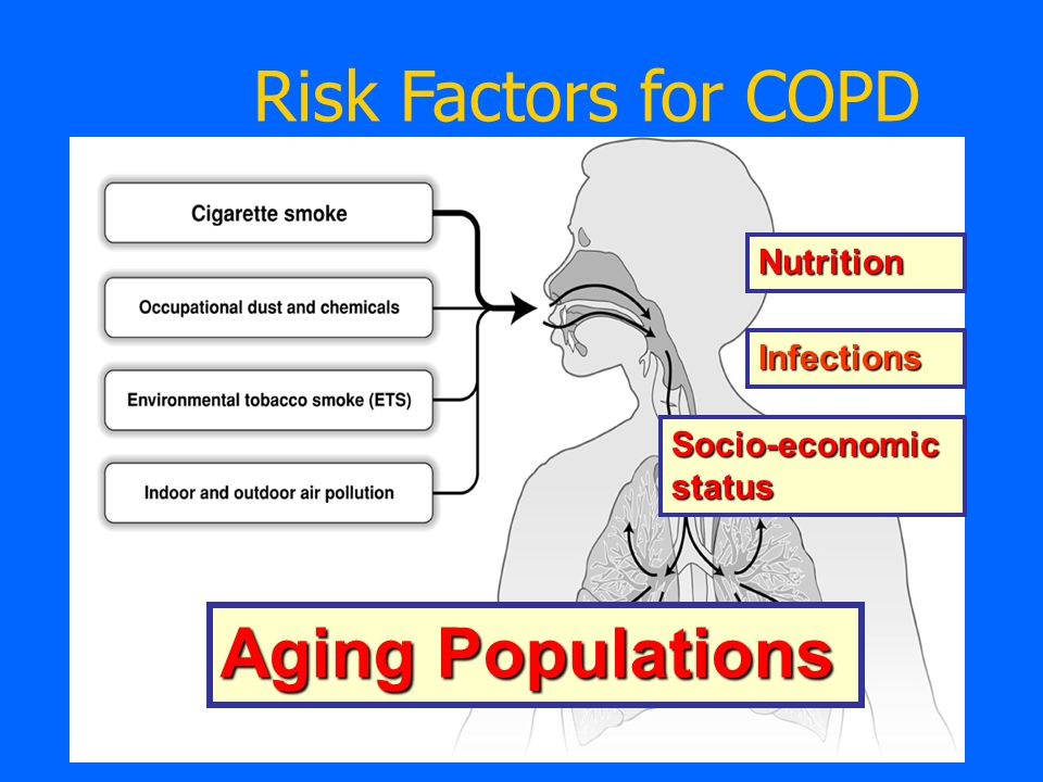 Risk Factors for COPD Nutrition Infections Socio-economic status Aging Populations