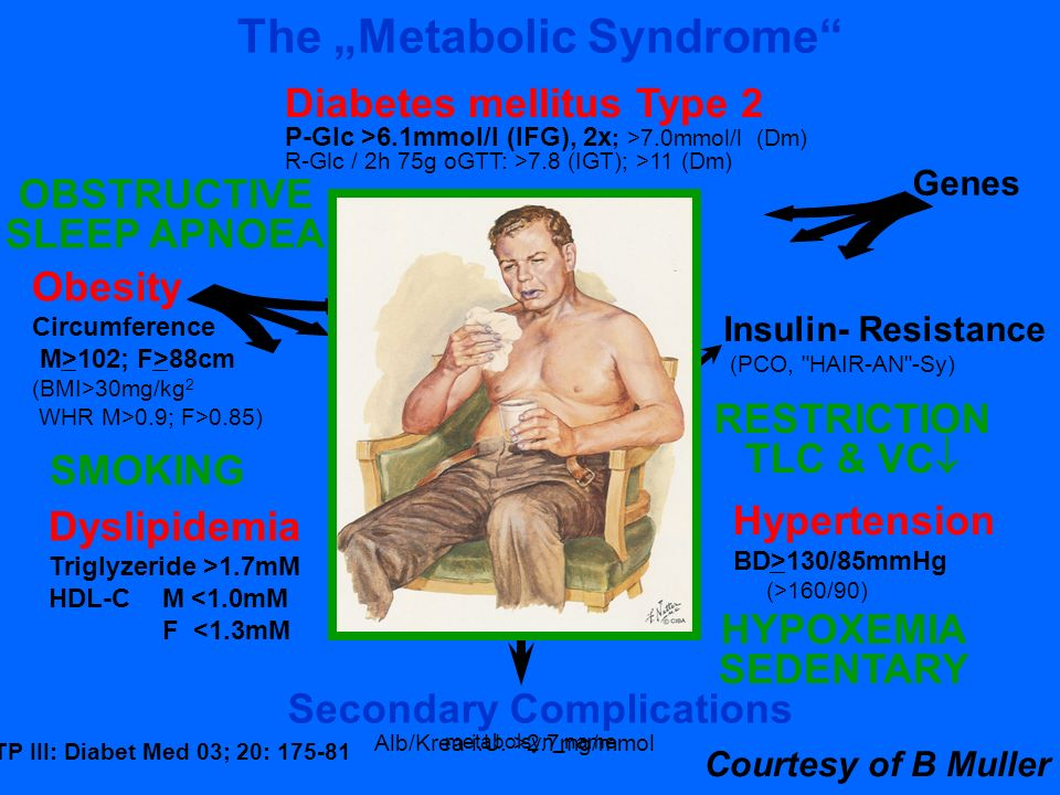 metabolsyn_name The Metabolic Syndrome Obesity Circumference M>102; F>88cm (BMI>30mg/kg 2 WHR M>0.9; F>0.85) Secondary Complications Insulin- Resistan