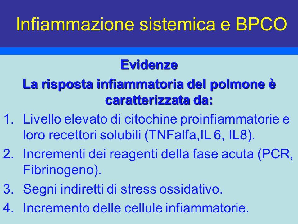 Infiammazione sistemica e BPCOEvidenze La risposta infiammatoria del polmone è caratterizzata da: 1.Livello elevato di citochine proinfiammatorie e lo
