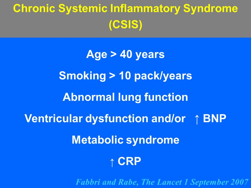 Chronic Systemic Inflammatory Syndrome (CSIS) Age > 40 years Smoking > 10 pack/years Abnormal lung function Ventricular dysfunction and/or BNP Metabol
