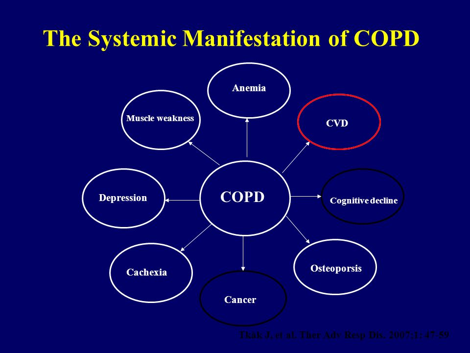 Anemia CVD Muscle weakness Depression COPD Cachexia Cancer Osteoporsis Cognitive decline The Systemic Manifestation of COPD Tkàk J, et al. Ther Adv Re