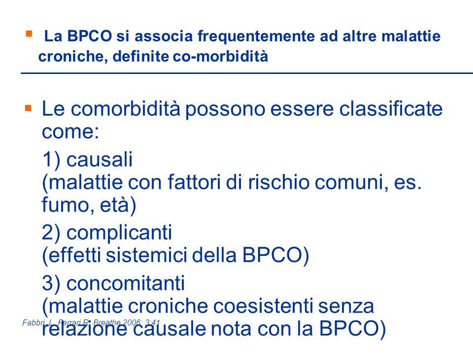 La BPCO si associa frequentemente ad altre malattie croniche, definite co-morbidità Le comorbidità possono essere classificate come: 1) causali (malat